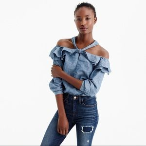 J.Crew Off-the-Shoulder Tie-Neck Chambray Top 6P